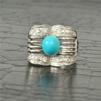 Vintage Turquoise and Diamond Ring in Platimum