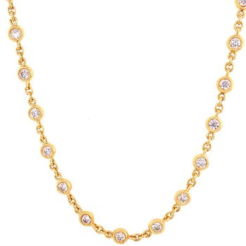 "20"" Diamond Station Necklace in 18k Yellow Gold"