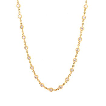 """20"""" Diamond Station Necklace in 18k Yellow Gold"""