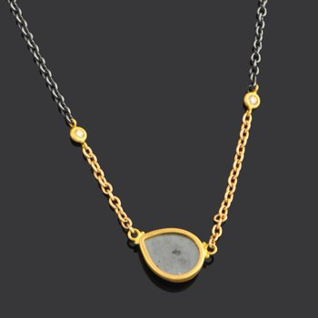 Oxidized Silver and Gold Necklace with Grey Diamond
