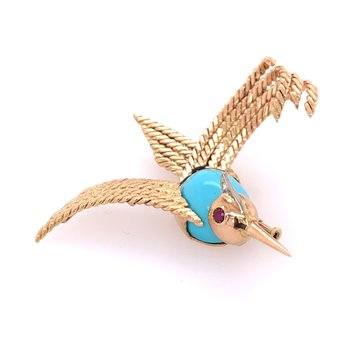 Vintage Turquoise Bird Pin in Yellow Gold
