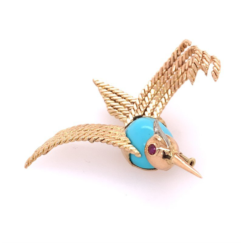 Perry's Estate Collection Vintage Turquoise Bird Pin in Yellow Gold