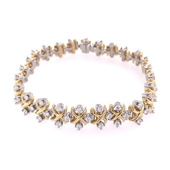 Diamond Bracelet by Tiffany & Co. in Platinum and Yellow Gold