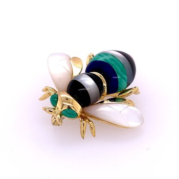 Malachite, Mother of Pearl, Onyx, and Lapis Bee Pin