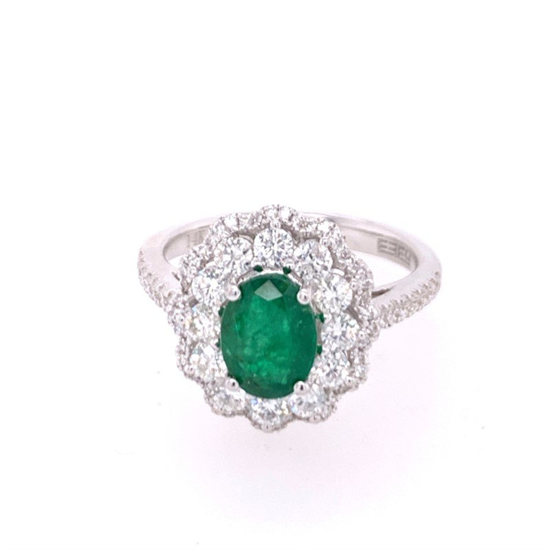 Effy Emerald and Diamond Ring in White Gold