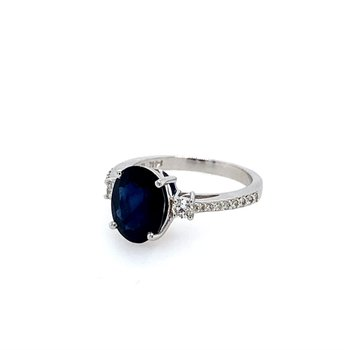 Sapphire Solitaire with Diamond Accents 14K White Gold Ring