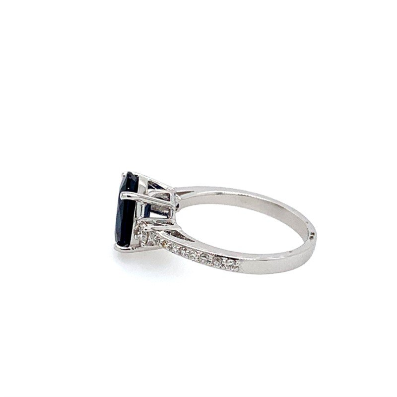 Effy Sapphire Solitaire with Diamond Accents 14K White Gold Ring