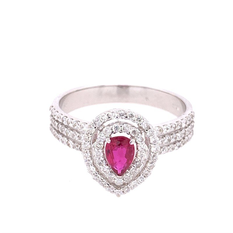 Ryan Gems Pear Shaped Ruby and Diamond Ring in White Gold