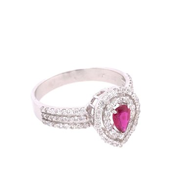 Pear Shaped Ruby and Diamond Ring in White Gold