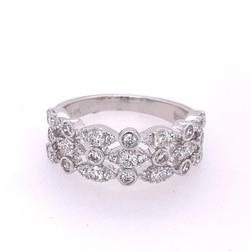 Royal Jewelry Openwork Diamond Band in White Gold