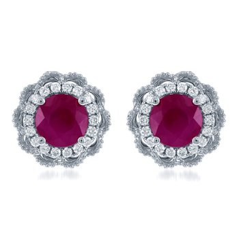 Ruby and Diamond Earrings in White Gold