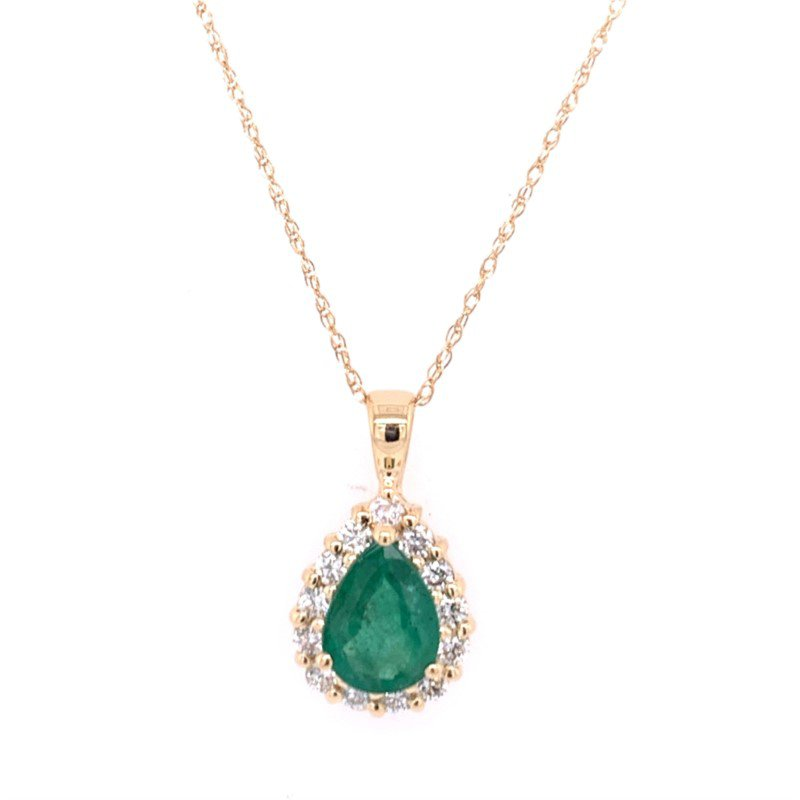 Royal Jewelry Emerald and Diamond Pendant in Yellow Gold