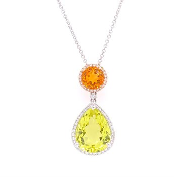 Citrine and Lemon Quartz Pendant in Two Tone Gold