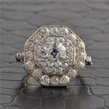Beautiful Antique GIA 1.62 ct. D-VVS1 Octagonal Cut Diamond Ring in Platinum and 18k Yellow Gold