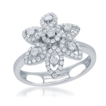 Diamond Flower Ring in 18k White Gold