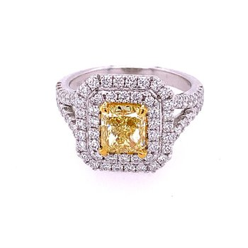 Fancy Yellow Radiant Cut Diamond Ring in Two Tone 18k Gold