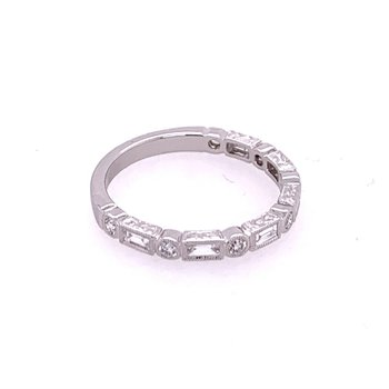 Baguette and Round Cut Diamond Band in White Gold