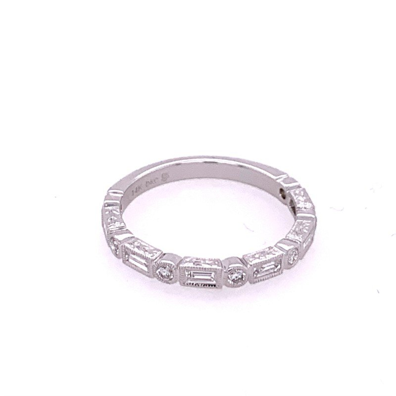 Beverley K Baguette and Round Cut Diamond Band in White Gold