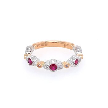 Rose and White Gold Band with Rubies and Diamonds