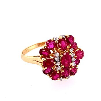 Ruby and Diamond Cluster Ring in 18k Gold