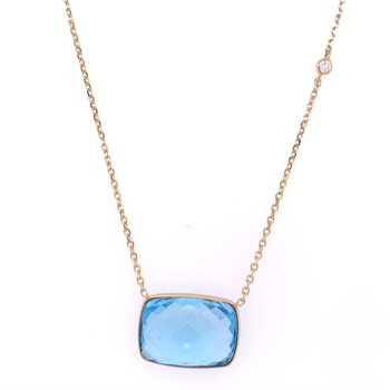 Blue Topaz Necklace in Yellow Gold
