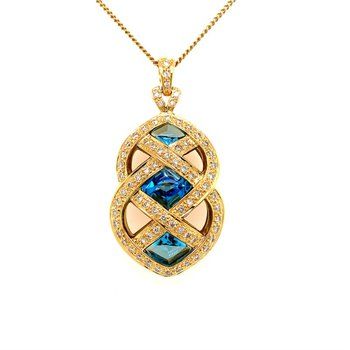 Blue Topaz and Diamond Openwork Pendant in Yellow Gold