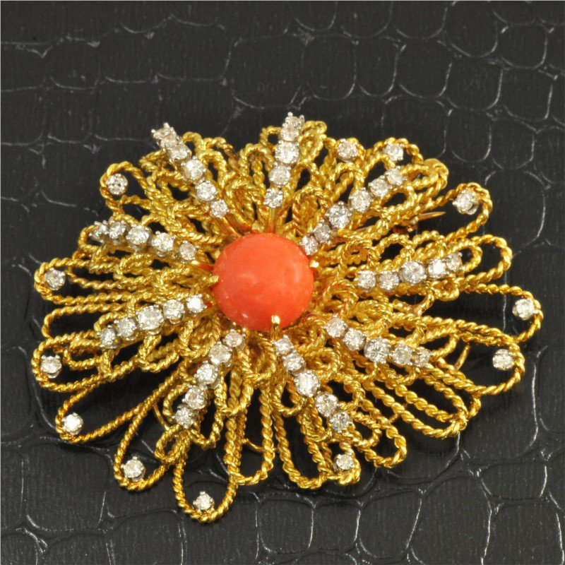 Perry's Estate Collection Vintage Coral and Diamond Brooch in Textured 18K Gold