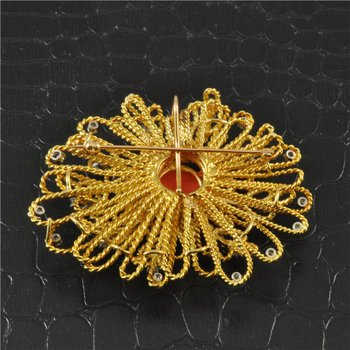 Vintage Coral and Diamond Brooch in Textured 18K Gold