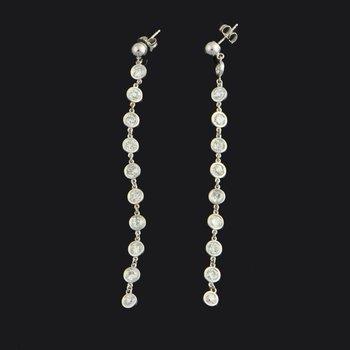 2.80 CTW Old European Cut Diamond Dangle Earrings in White Gold.