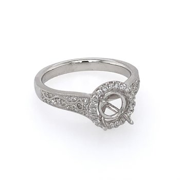 Diamond Halo Semi Mount for Round Cut Diamond
