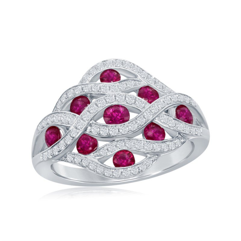 Jewels By Jacob Wide Ruby and Diamond Band in 18 White Gold