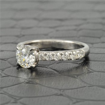 1.0 Carat Ideal Round Brilliant Cut Diamond Engagement Ring in White Gold