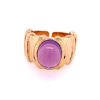 Amethyst Cabochon Ring in 18k Yellow Gold