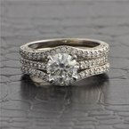 Perry's Estate Collection 1.14 Carat I-SI1 Round Brilliant Cut Diamond Engagement Ring with Matching Bands