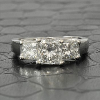Three Across Princess Cut Diamond Engagement Ring in Platinum