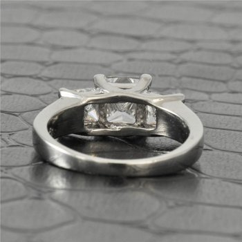 Three Across Princess Cut Diamond Engagement Ring in Platinum