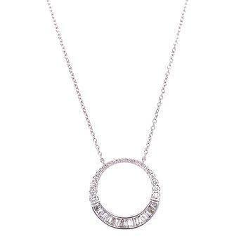 Circular Diamond Necklace in White Gold