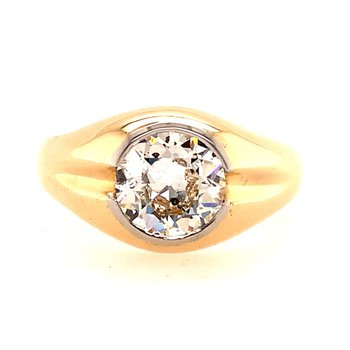 Vintage 2.30 Carat Old European Cut Diamond Ring in Yellow Gold and Platinum