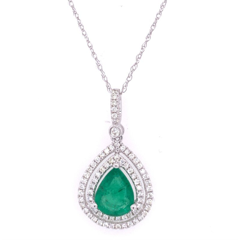 Royal Jewelry Emerald and Diamond Pendant in White Gold