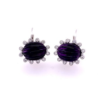 Carved Amethyst and Diamond Earrings in Platinum