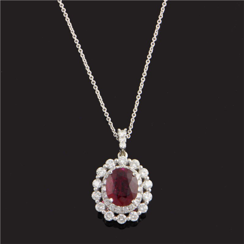 Perry's Estate Collection Ruby and Diamond Pendant in White Gold