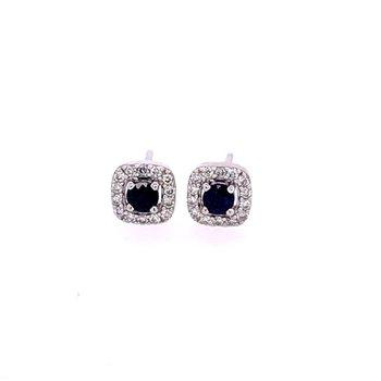 Petite Sapphire and Diamond Stud Earrings