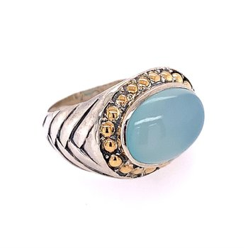Chalcedony Ring in Sterling Silver and Gold