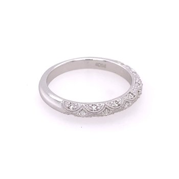 Beaded Diamond Wedding Band in White Gold