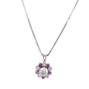 European Cut Diamond Pendant with Amethyst Halo