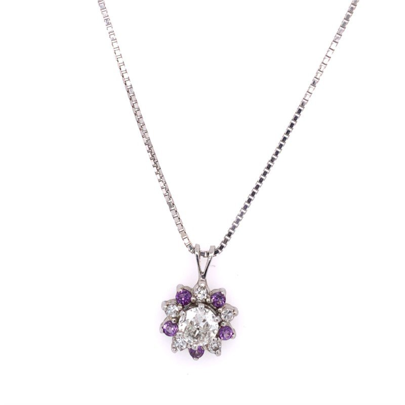 Perry's Estate Collection European Cut Diamond Pendant with Amethyst Halo