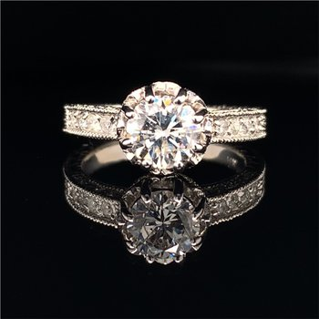 1.08 Carat Round Brilliant Cut Diamond Engagement Ring in White Gold