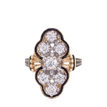 Vintage Mid Century Enameled Diamond Ring in Yellow Gold