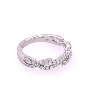 Crisscross Diamond Band in White Gold