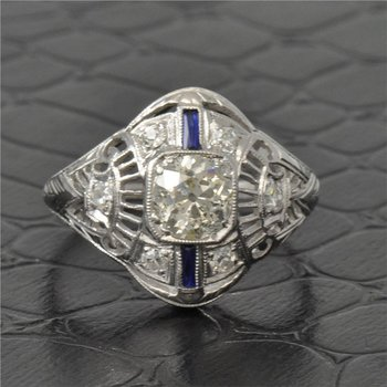 Art Deco Cushion Cut Diamond Ring in 18K White Gold